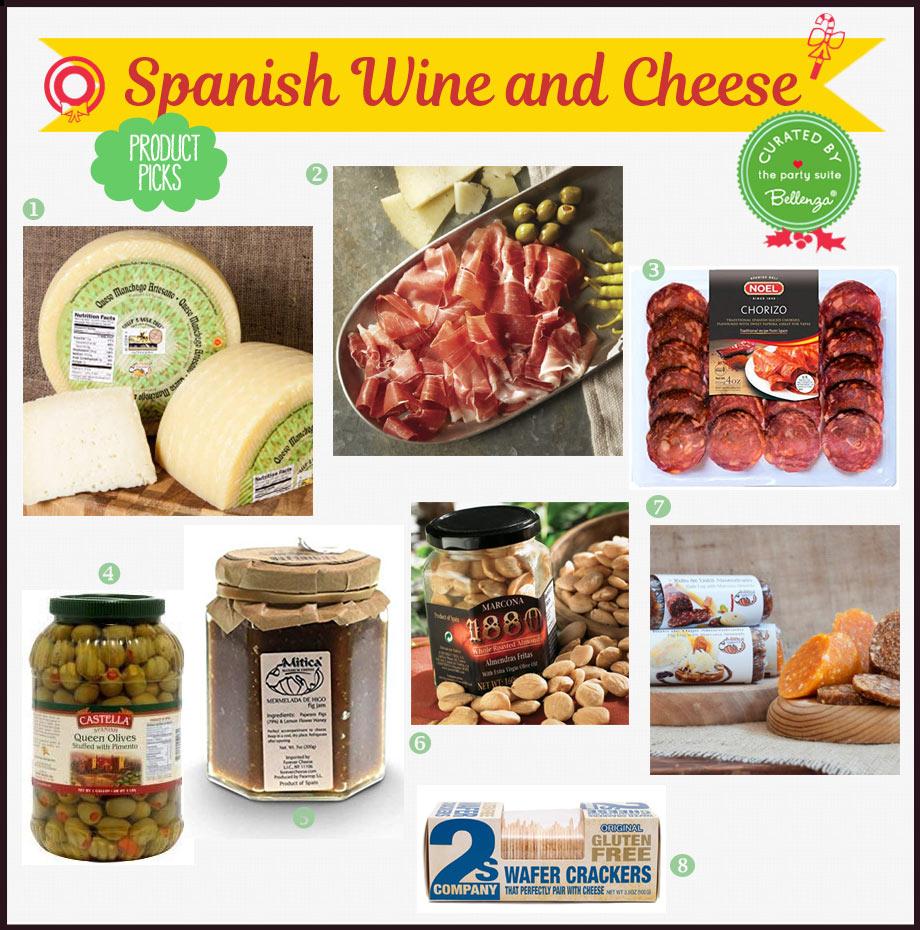 Spanish cheeses, jamon, and chorizos.