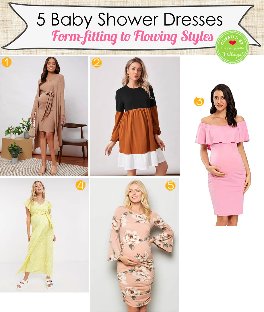 Form-fitting to Flowing Maternity Dresses for Spring Baby Shower