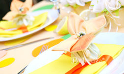 Orange and chartreuse sachet for spring favors