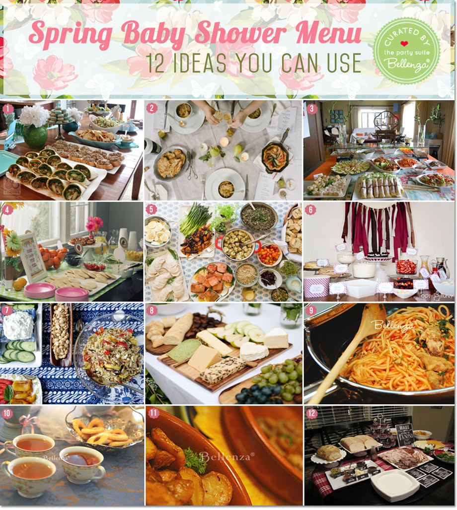 Spring baby shower menu ideas from paninis bars to crepe to a Mediterrenean fare!