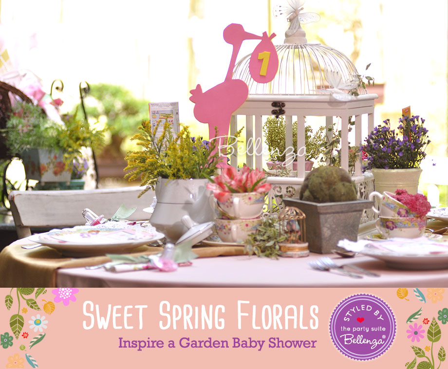 A tablescape of sweet floral spring elements   styled by Bellenza.