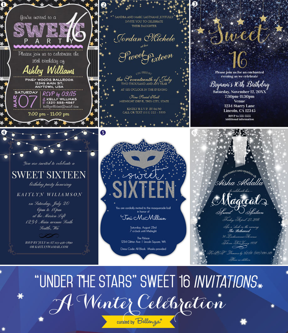 Starry and Sparkly Sweet 16 Party Invitations