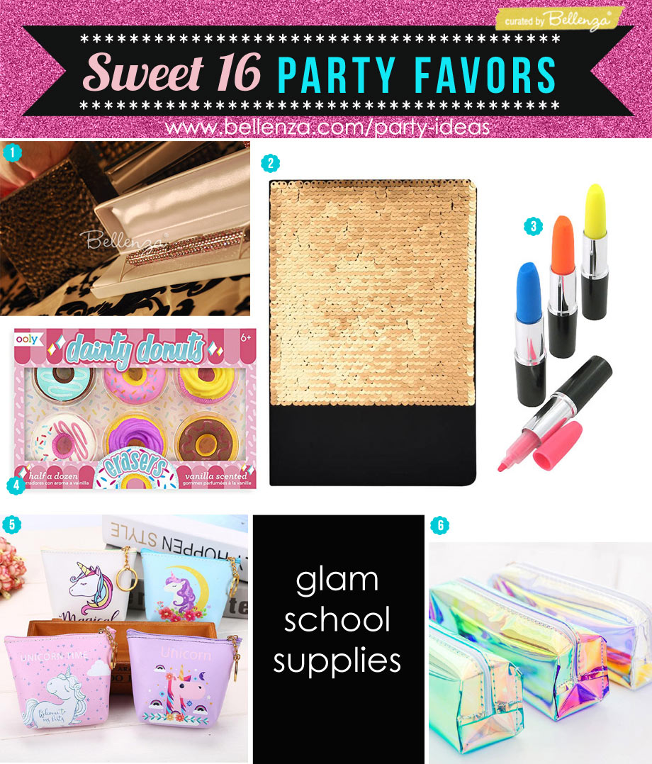 Sweet 16 Glam School Supplies Favors