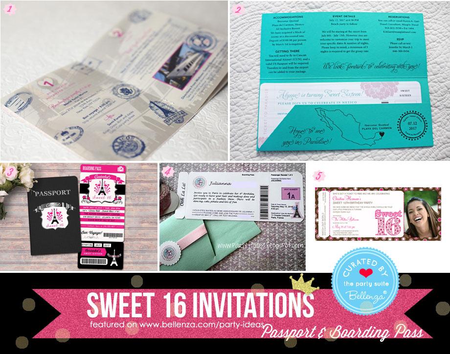 Sweet 16 boarding pass invitation
