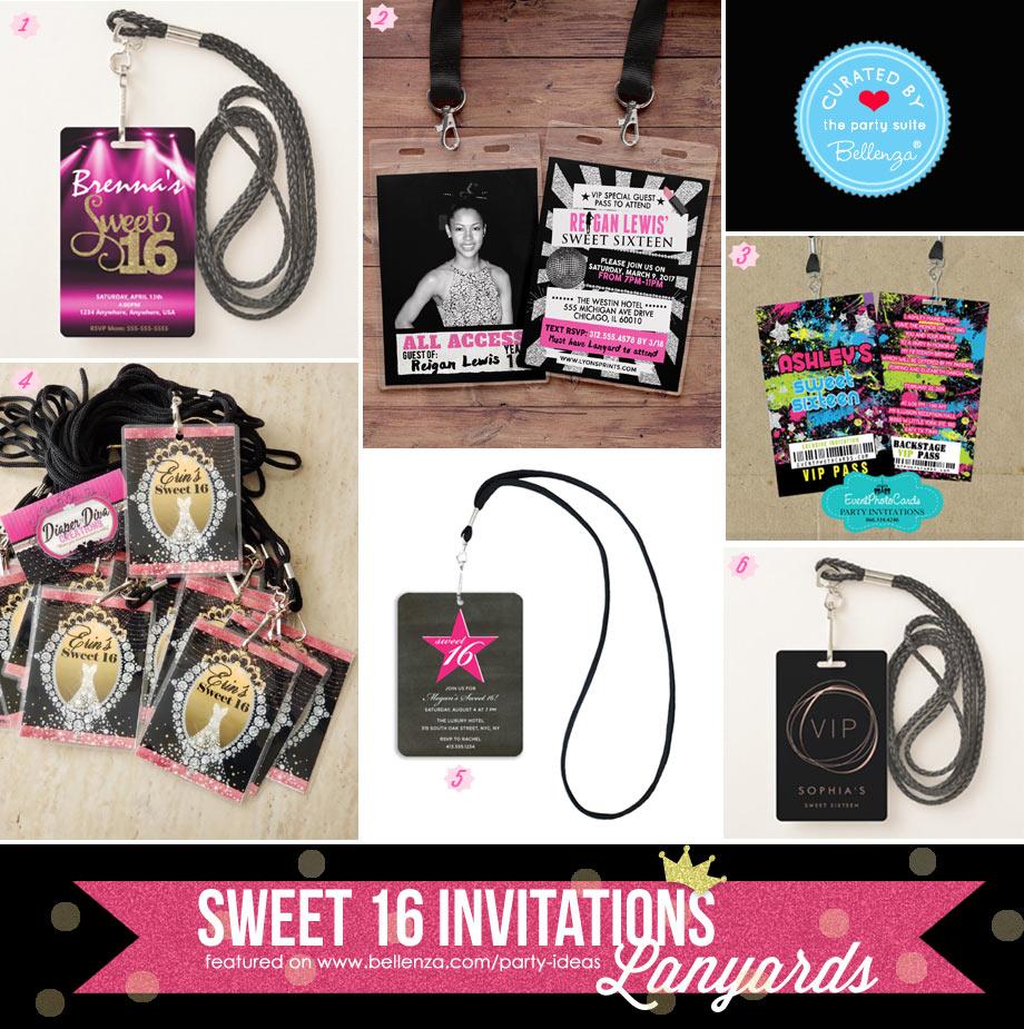 Sweet 16 lanyard invitations