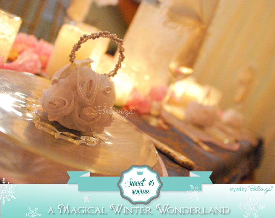 Sweet 16 Winter Wonderland Table Settings and Favors