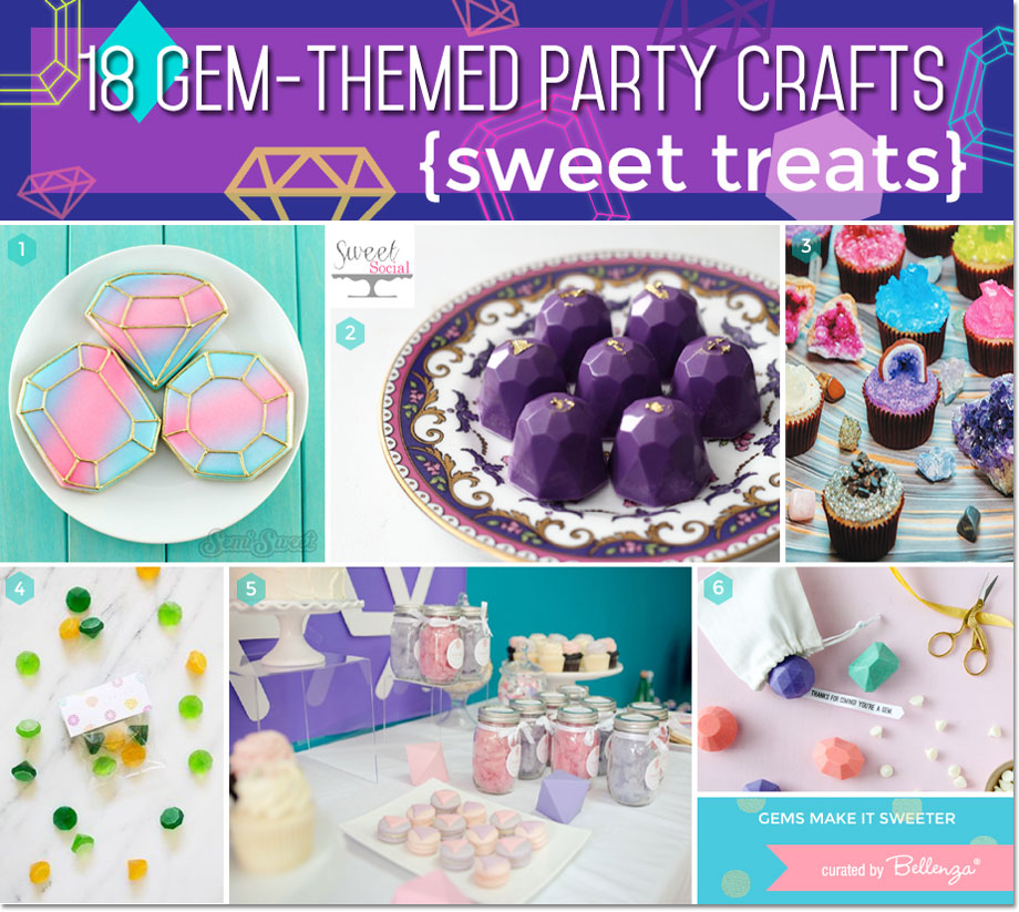 Gem-inspired cookies, cake gems, chocolate gems, and geode cupcakes