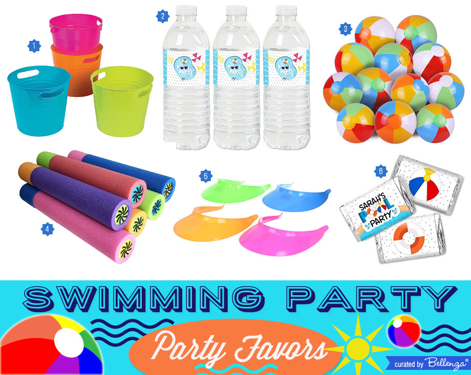 Swimming party favors from visors to balls.