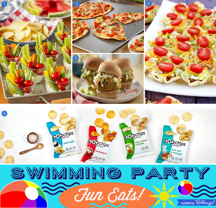 Fun swimming party food from chips to pizza
