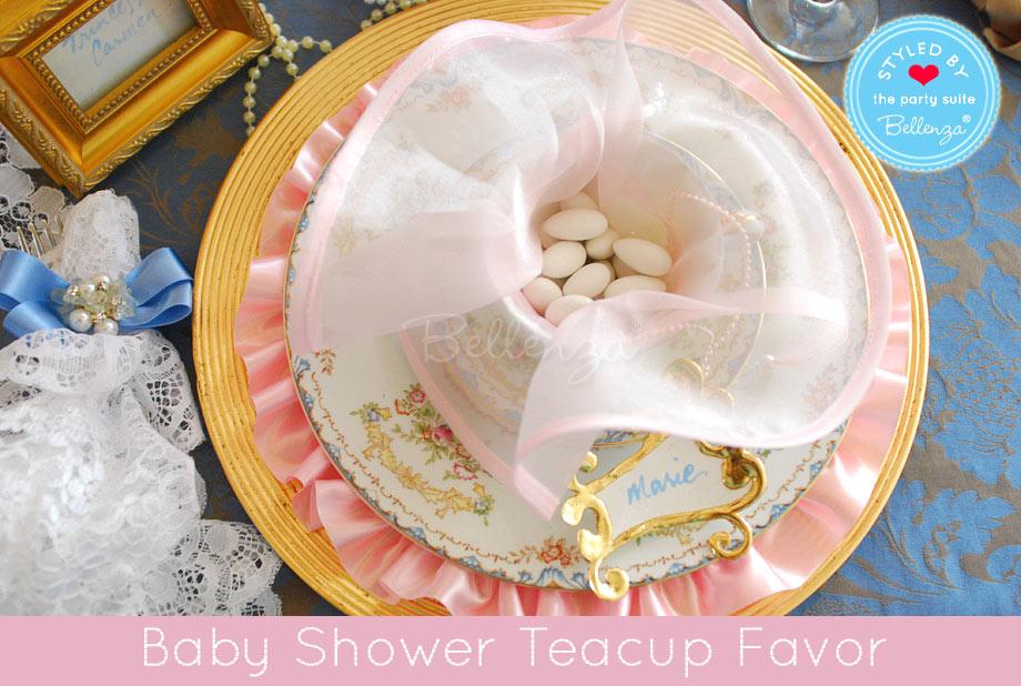 Pink teacup with white Jordan almonds.