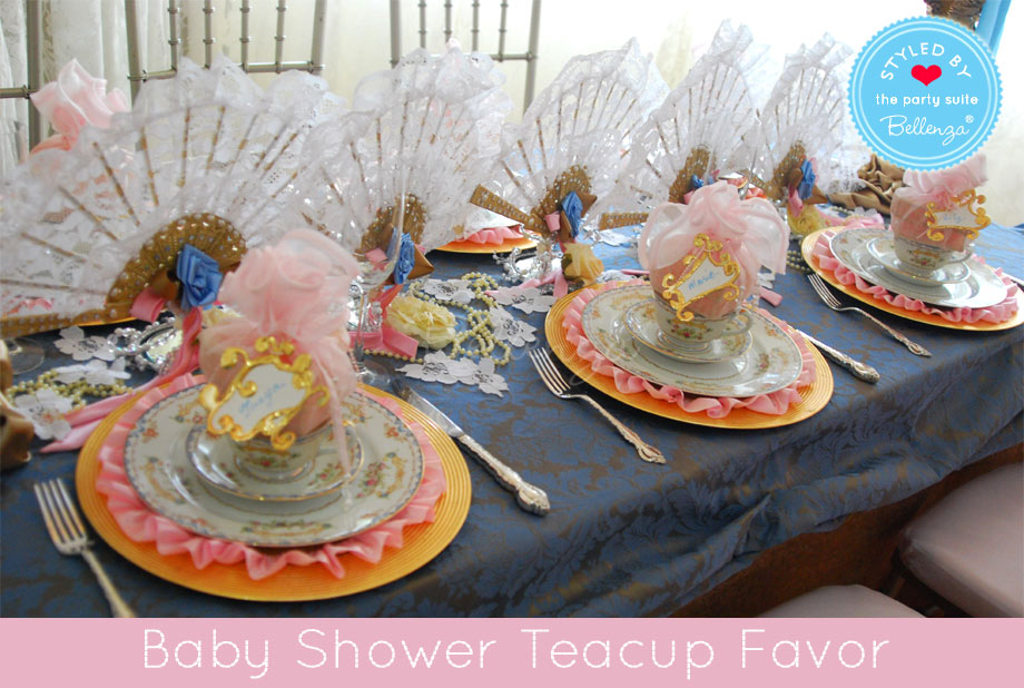 Pink teaparty baby shower teacup favor. Afternoon tablescape.