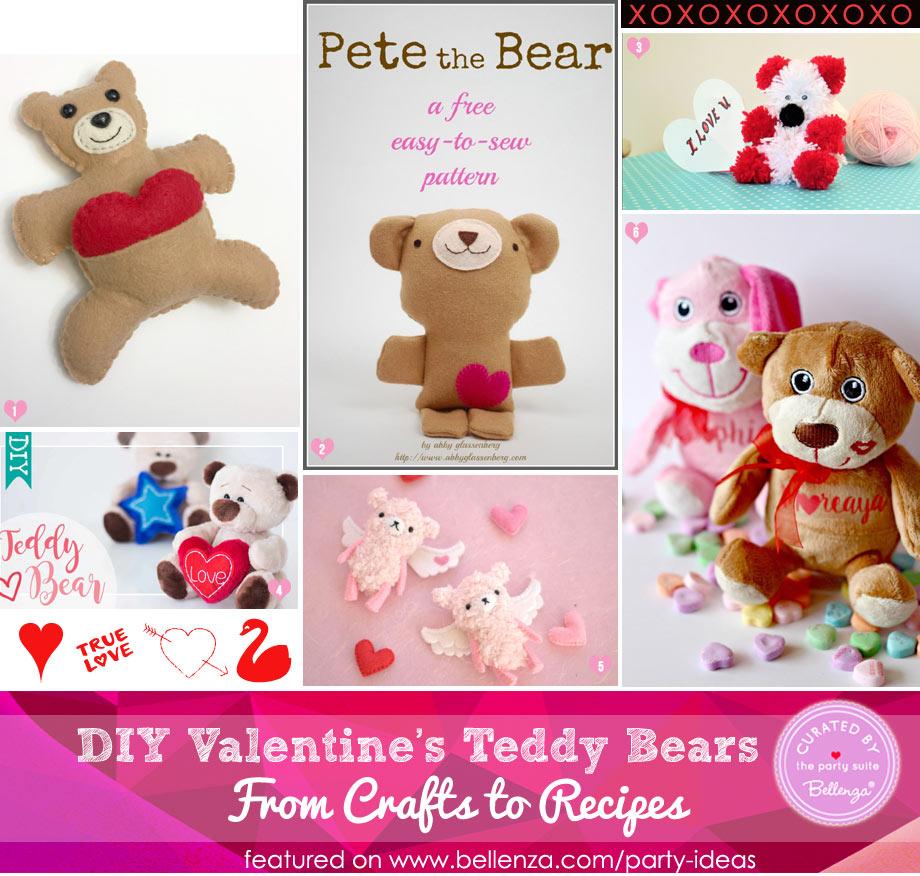 Valentine's teddy bear crafts with fabrics, pom poms, and plush items.
