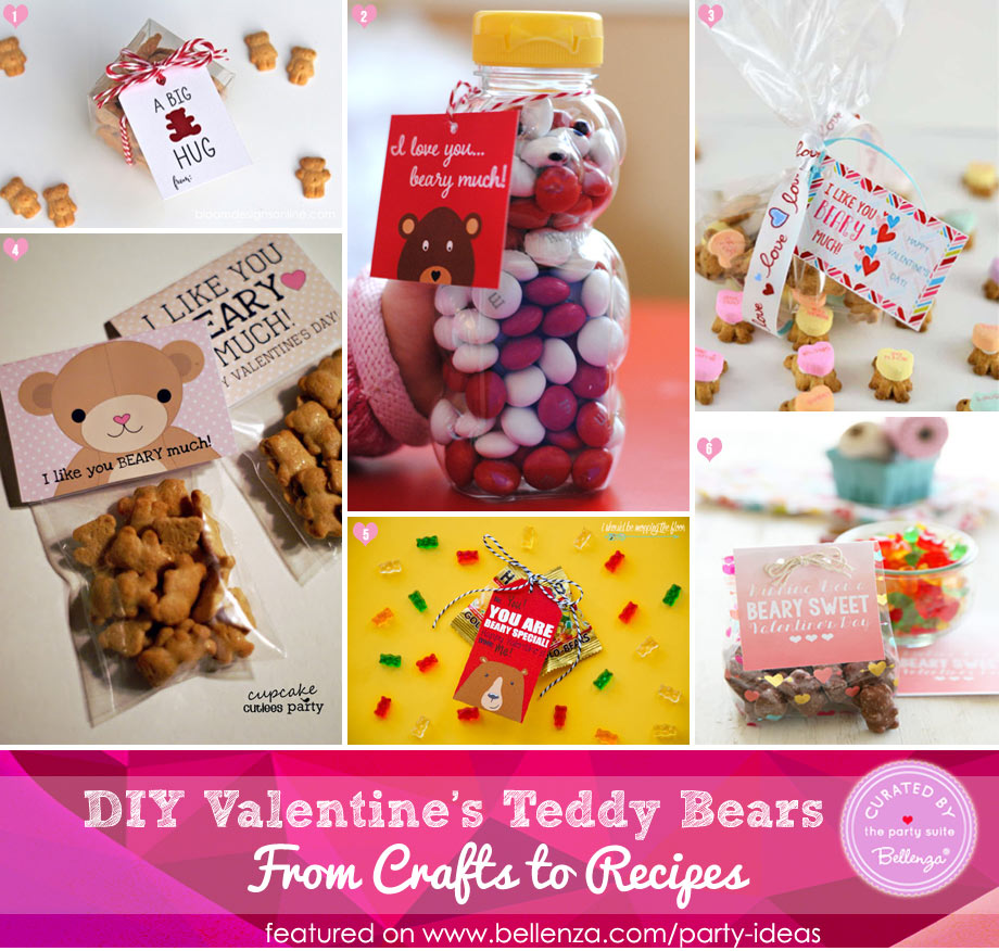 Valentine's teddy bear favor and gift tags