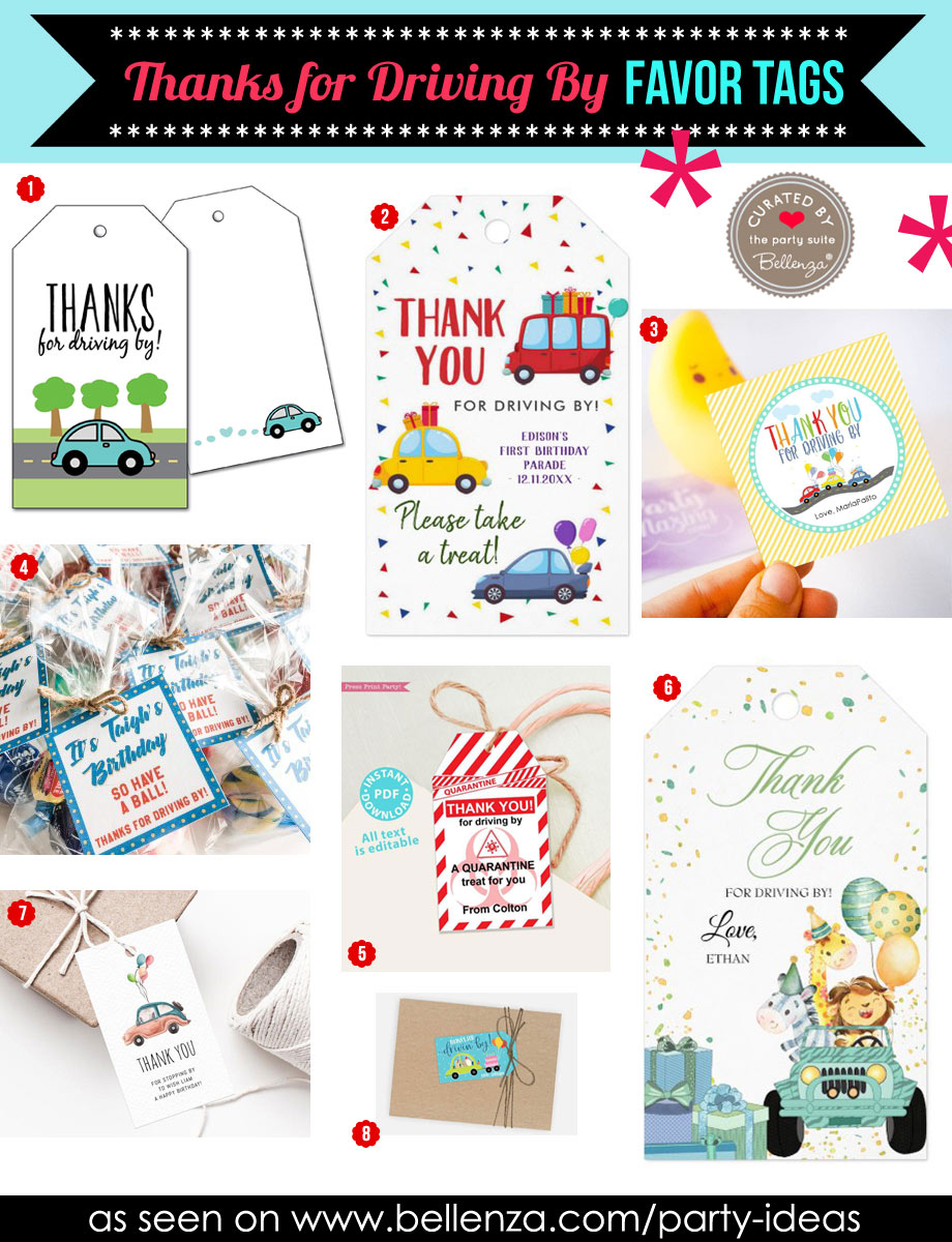 Drive-by birthday parade favor tags