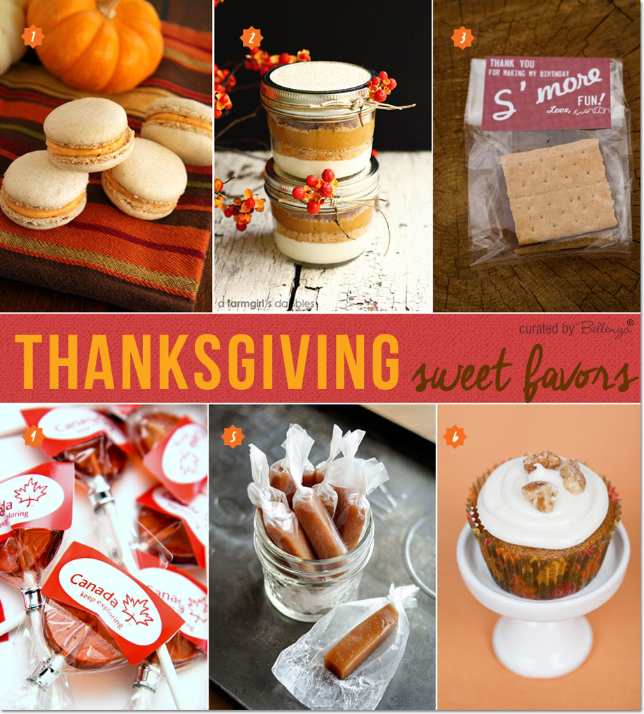 Thanksgiving favor ideas with recipes from pumpkin macarons to maple syrup lollipops.