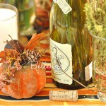 Wine bottle with glitter pumpkin Thanksgiving decorations