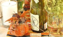 Wine bottle with glitter pumpkin Thanksgiving decorations