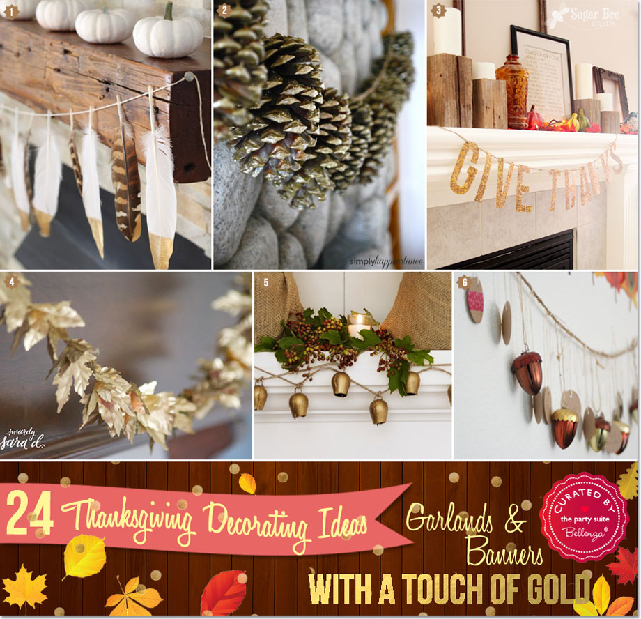 Thanksgiving gold garlands and banners from feathers to pinecones to acorns.