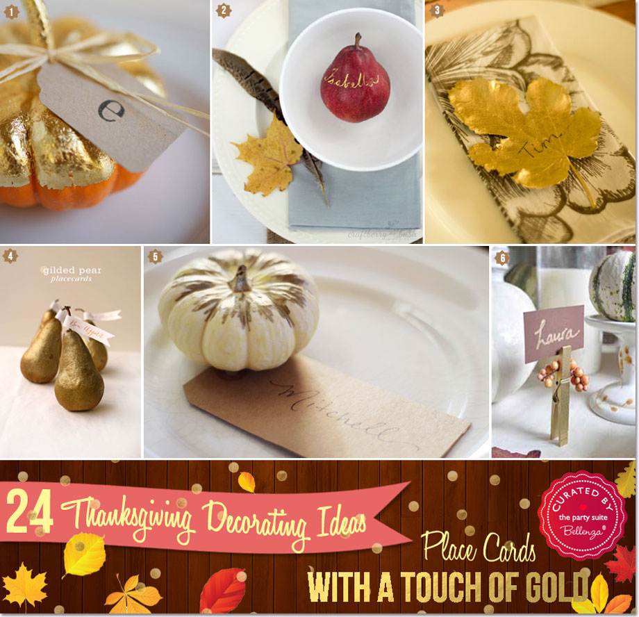 Thanksgiving gold place cards ideas from pumpkins to leaves.