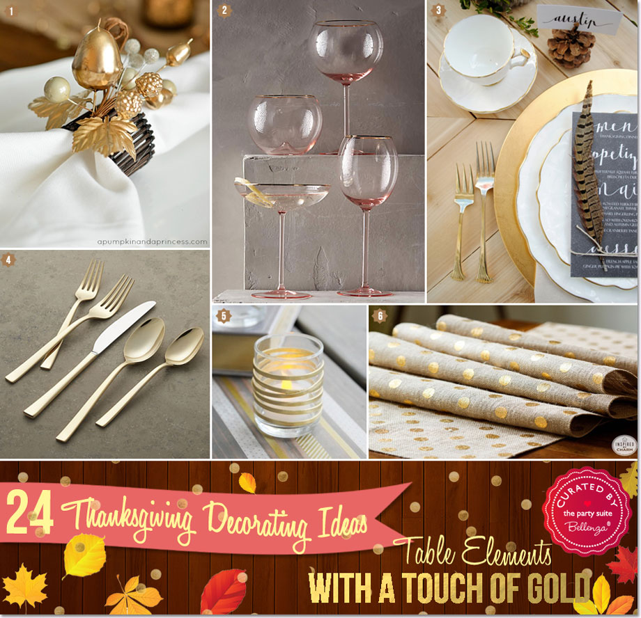 Thanksgiving gold table elements from gold rim glasses to table runners.