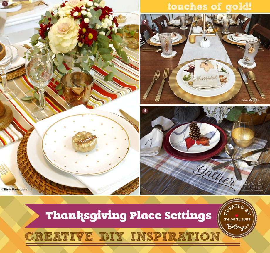 Thanksgiving place settings and table decorations with gilded materials.