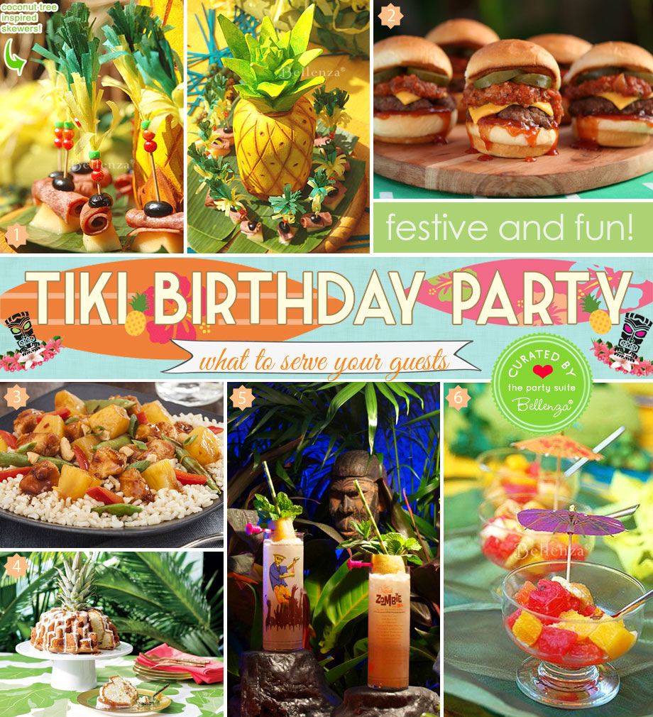 Tiki birthday party food with Polynesian flavors