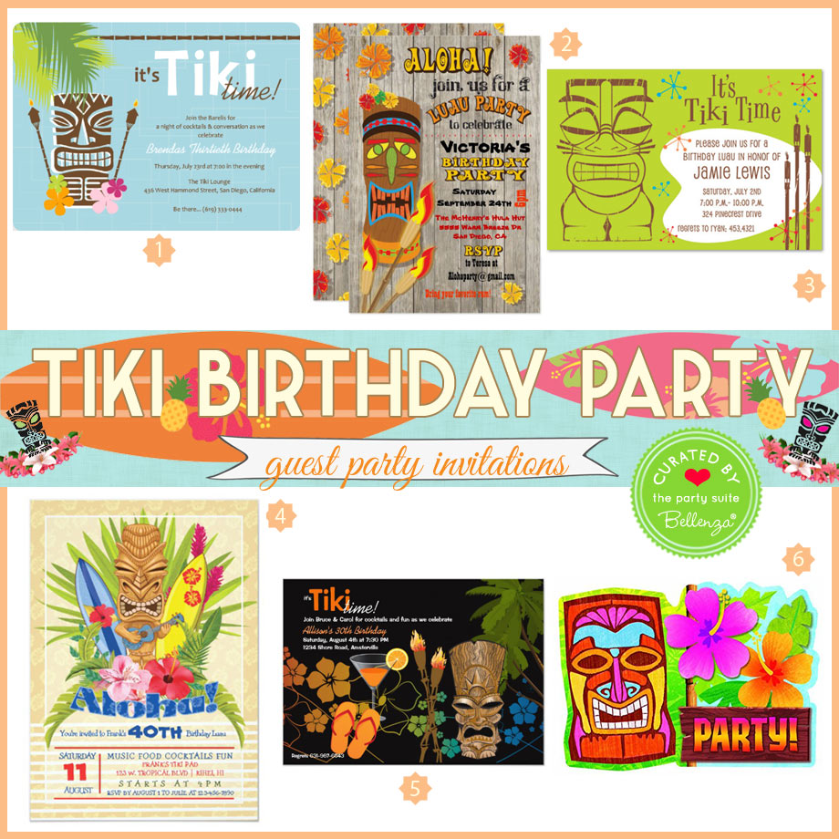 Tiki themed party invitations