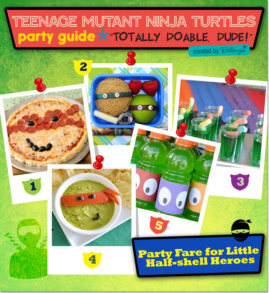 TMNT Party Masks, Supplies. and Drink Labels.