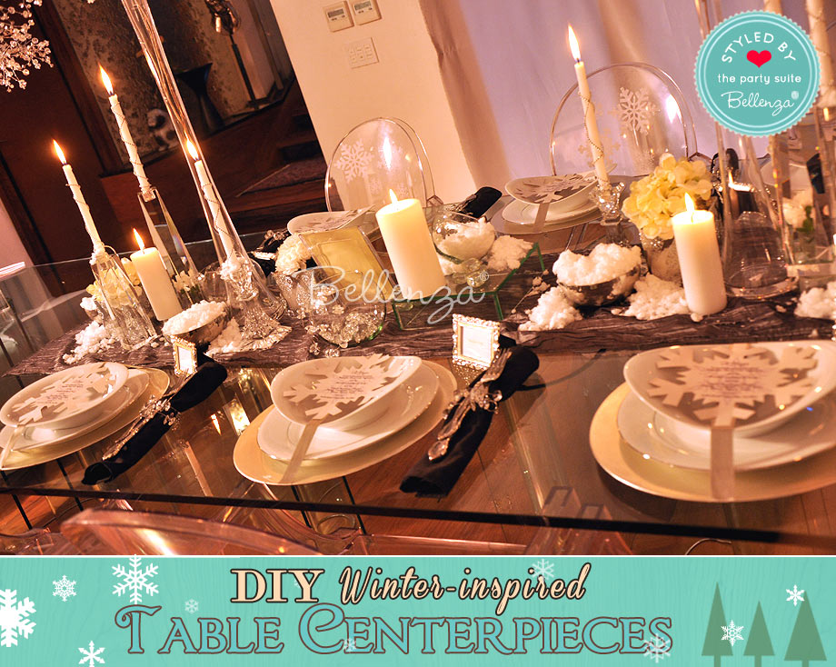Traditional winter table centerpiece