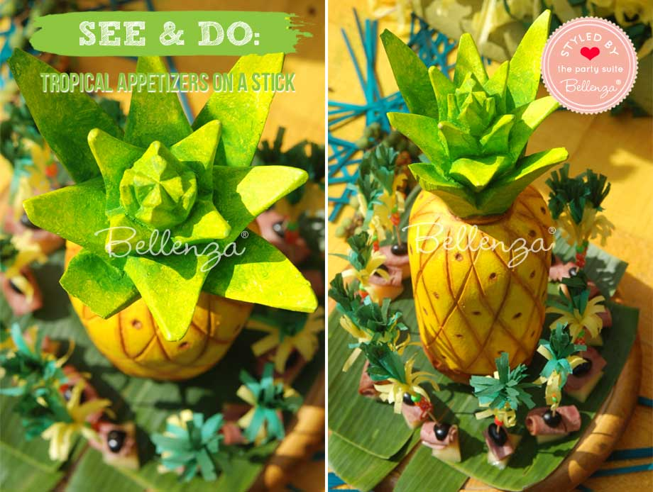 Faux pineapple with tropical appetizers