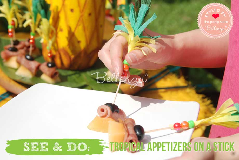 Decorated appetizer sticks with beads