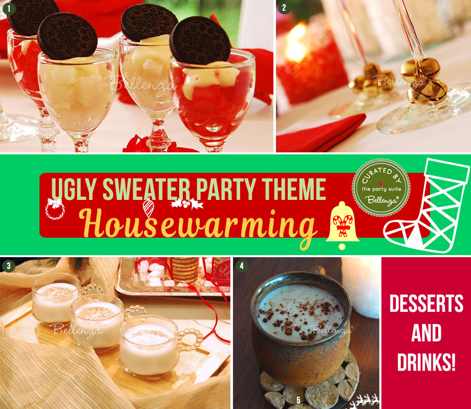 Eggnog, hot cocoa, and desserts for a holiday housewarming party