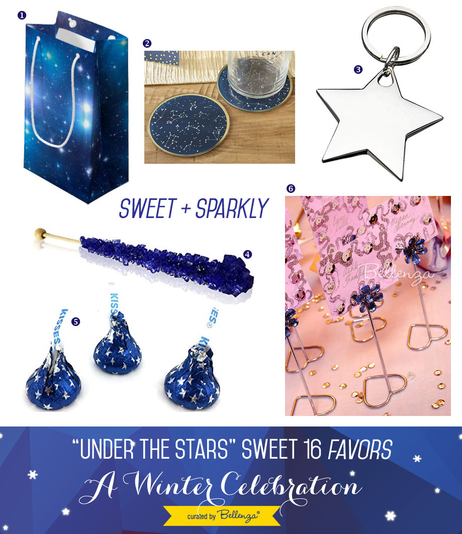 Starry and Sparkly Sweet 16 Party Favors and Loot Bag Fillers