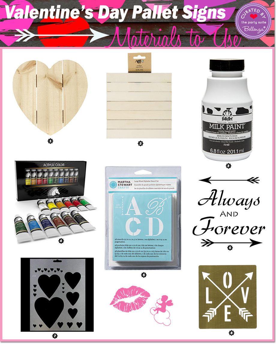 Materials for Making DIY Valentine's Pallet Signs for Decorations
