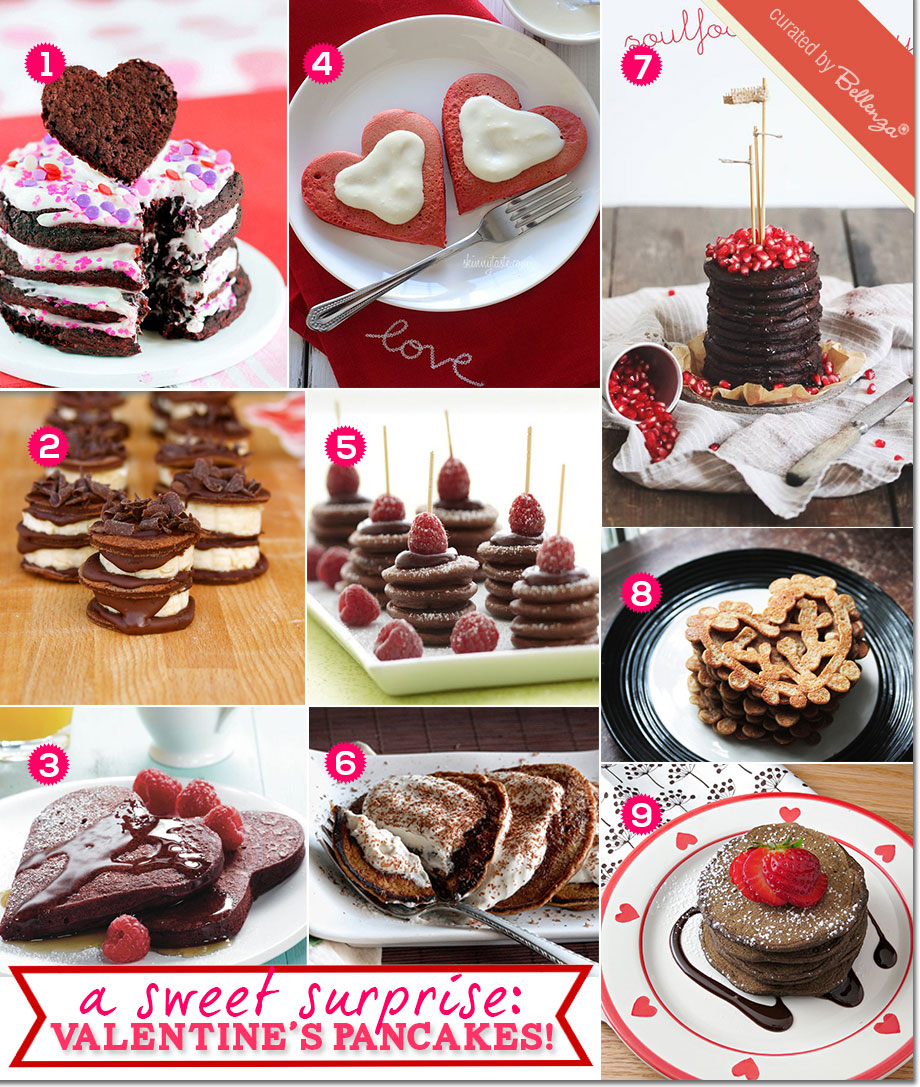 Valentine's pancakes in Red Velvet, Tiramisu, Almond Banana, Double Chocolate, and Whole Wheat Pancakes for Valentine's Day.