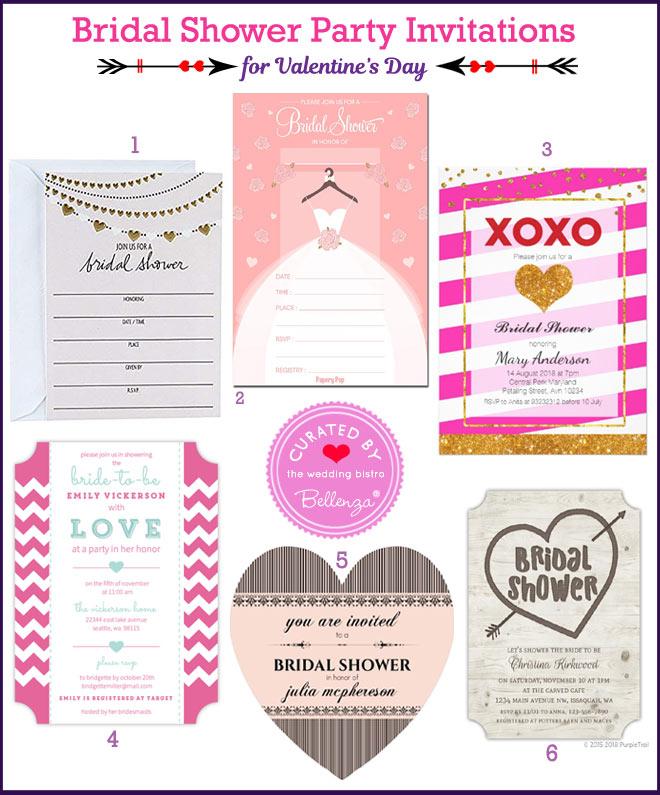 Valentine's bridal shower invitations
