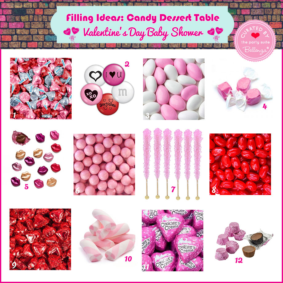 Candies in Valentine-inspired colors, shapes and wrappings