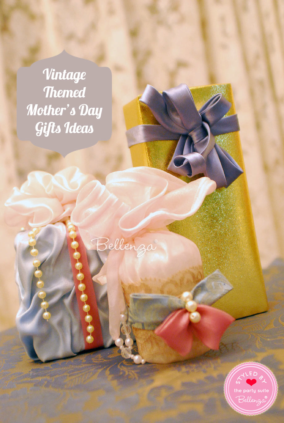 Vintage-inspired gift packaging for boxes and and bottles.