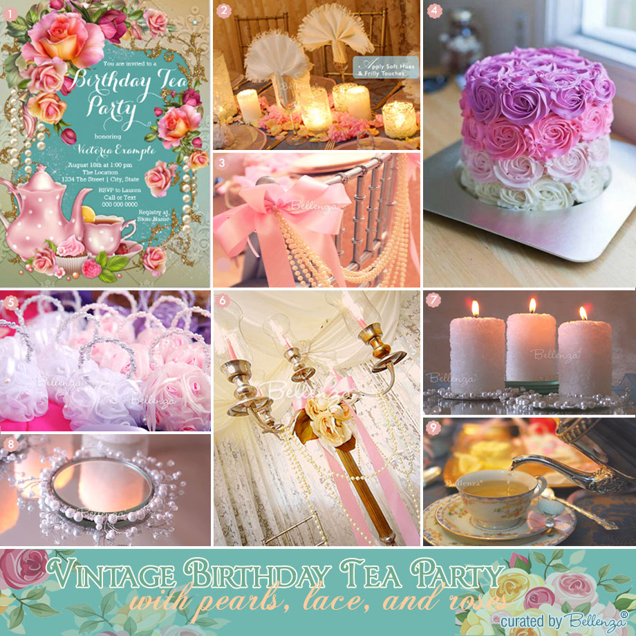 Tea party with pearls and roses