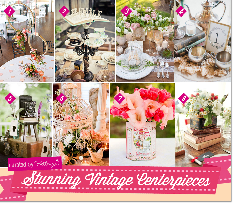 Vintage baby shower centerpieces using books, vintage tea tins, bird cages, wooden crates, and antique cameras