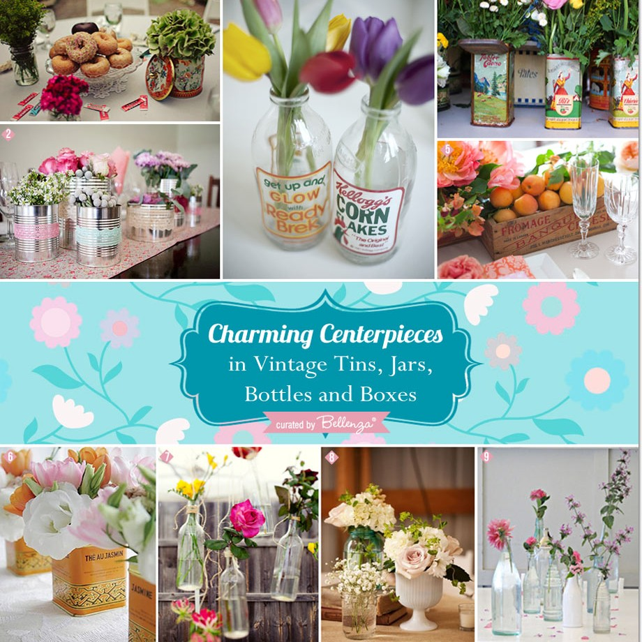 A Variety of jars, vases, and recycled containers for centerpieces // curated by Bellenza.