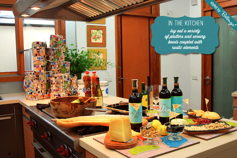 Wine and cheese party in the kitchen for Christmas by Bellenza.