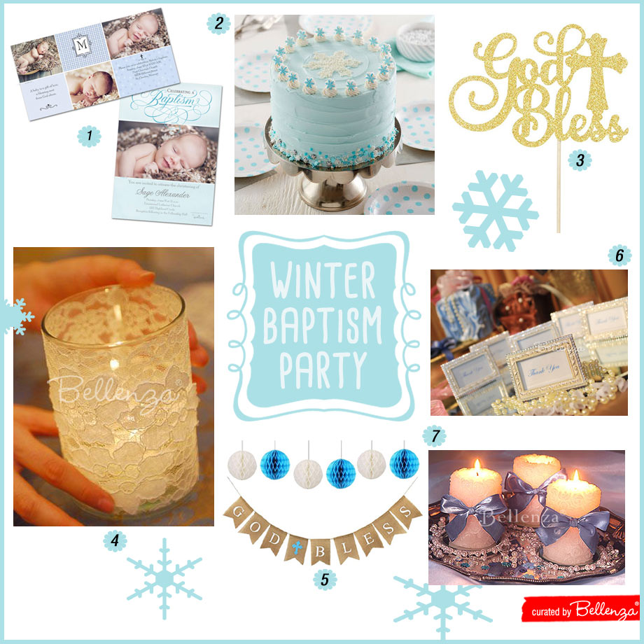 Homemade winter baptism party decorations