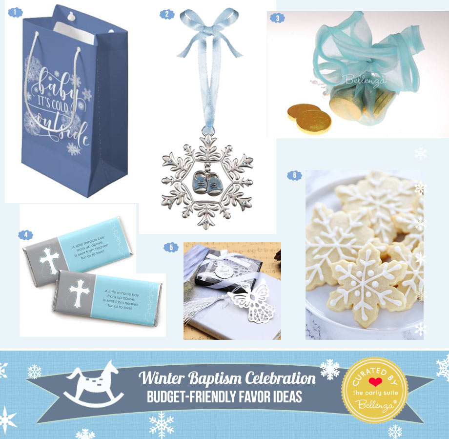 Winter Baptism Favors from Bookmarks to Cookies