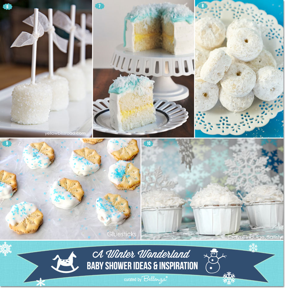 Winter wonderland baby shower desserts from coconut cream cake to donuts to white chocolate peanut butter snowflakes
