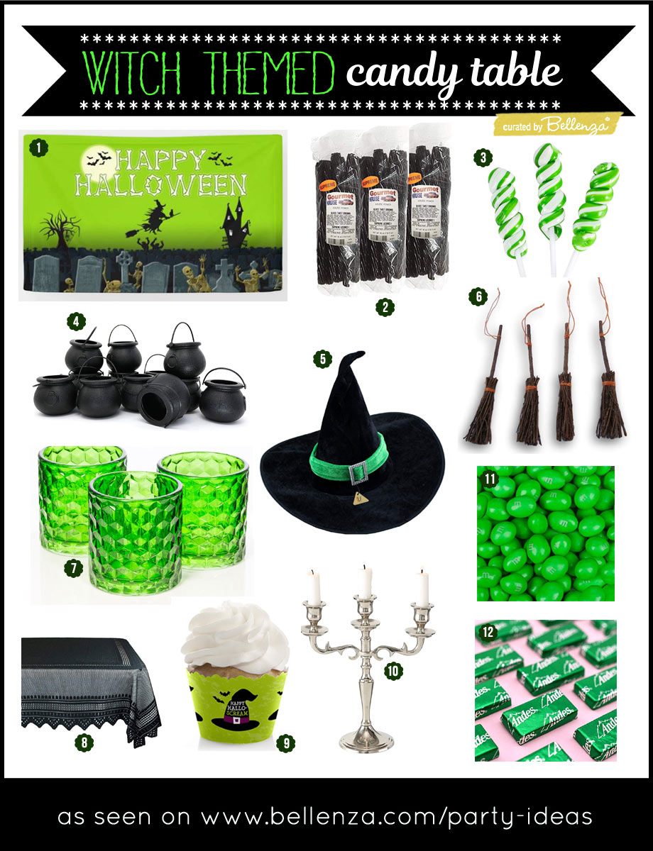 Party supplies and candy for a witch themed Halloween