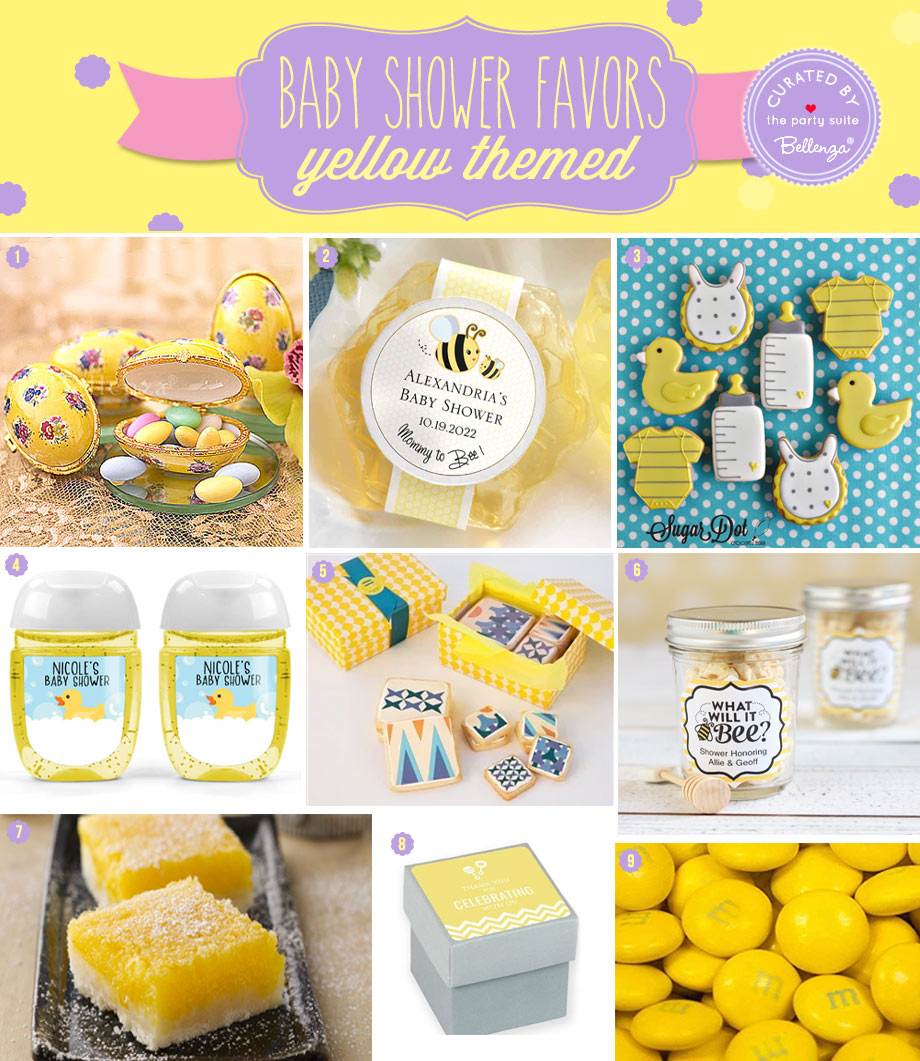 Yellow themed baby shower favor ideas for spring