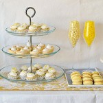 Yellow sweets and cake dessert table