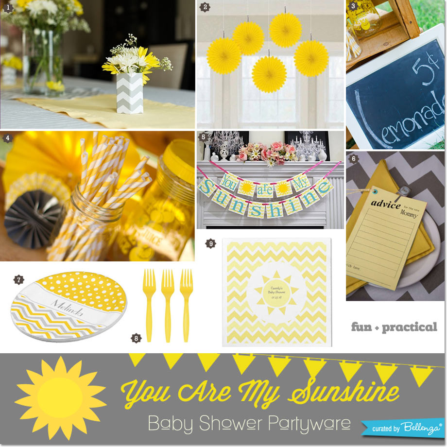 You are my sunshine partyware and decor for a baby shower // curated by Bellenza.