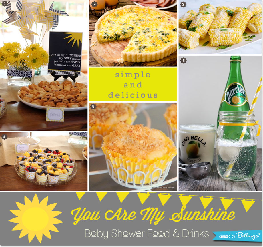 You are my sunshine party food and drinks for a baby shower // curated by Bellenza.